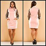 Стильное платье с вышивкой на рукавах, фото 2