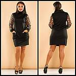 Стильное платье с вышивкой на рукавах, фото 4