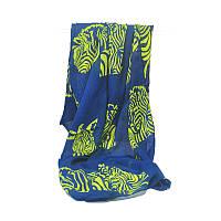 Яркий женский синий шарф с рисунком, фото 1