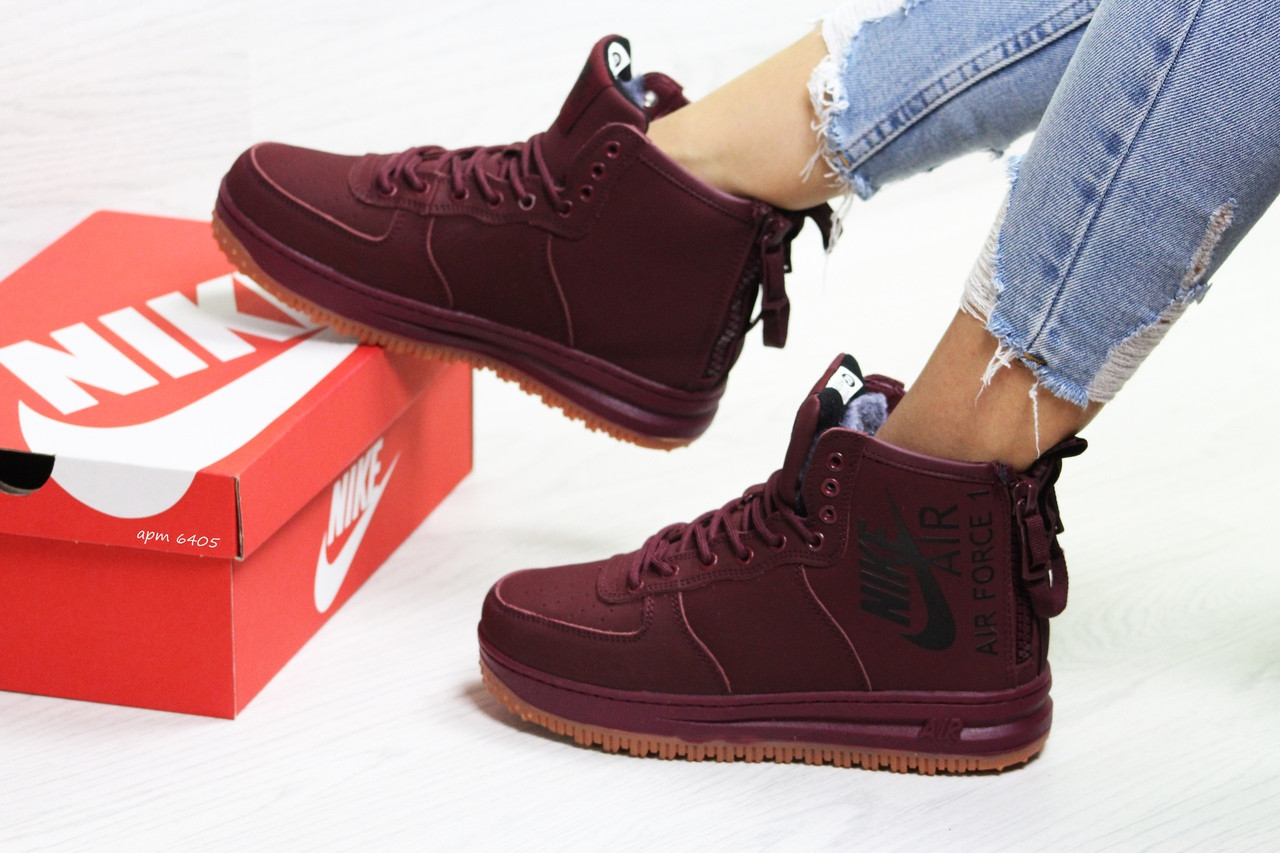 Зимние подростковые(женские) кроссовки Nike Air Force,бордовые 36,37р