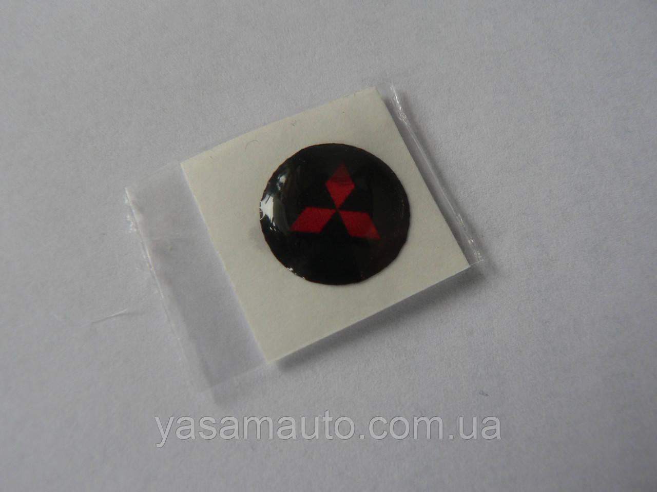 Наклейка s круглая Mitsubishi красная 11мм силиконовая эмблема в круге на авто ключи сигнализацию Митсубиши