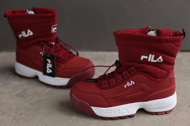 Ботинки зимние женские Fila Disruptor 2 (II) burgundy бордовый, фото 2