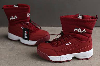 Ботинки зимние женские Fila Disruptor 2 (II) burgundy бордовый