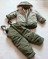 """Зимний костюм-комбинезон """"Аляска""""  Хаки  для  мальчика р .  104."""