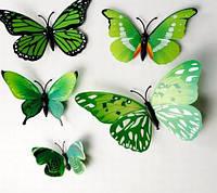 Набор бабочек с магнитом 12 шт (зеленые)