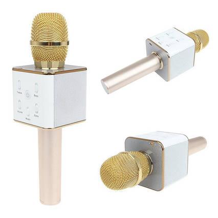 Портативный беспроводной микрофон караоке Q7 без чехла золотой, фото 2