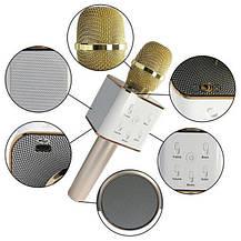 Портативный беспроводной микрофон караоке Q7 без чехла золотой, фото 3