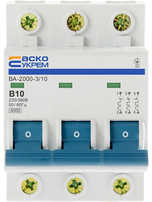 Автоматический выключатель УКРЕМ ВА-2000  3р 10А АСКО