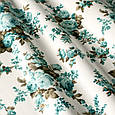 Ткань для штор прованс розы голубая бирюза с тефлоновой пропиткой Турция ширина 180 см Ткани на метраж, фото 2