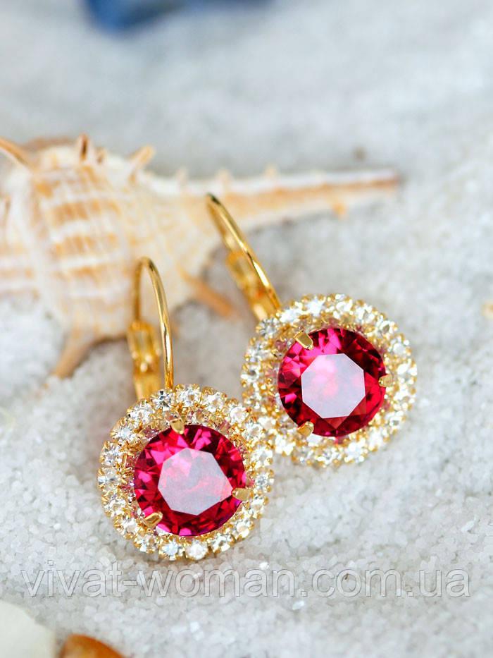 Серьги с розовым камнем, бижутерия