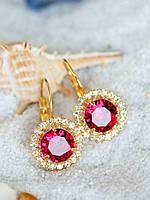 Серьги с розовым камнем, бижутерия, фото 1