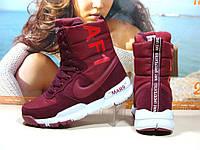 Зимние женские кроссовки Nike AF1 Mars (реплика) бордовые 36 р. , фото 1