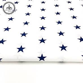 """Польская хлопковая ткань """"звезды синие на белом классические"""", фото 2"""