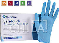 Нитриловые перчатки 3г/м² ОБЛЕГЧЕННЫЕ (100шт/уп) Медиком SafeTouch® Advanced Slim Blue