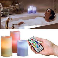 Светодиодные свечи Luma Candles 3 шт с пультом ДУ. Ночник в виде свечей