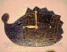 Часы настенные Ежик джинсовый Часы для детской комнаты Ручная работа