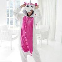 Пижама кигуруми женская Единорог бело-розовый