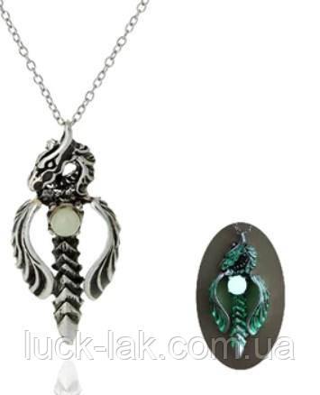 Рок, готика подвеска кулон дракон, светиться в темноте зеленым