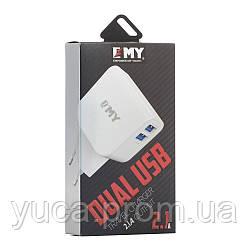 Сетевой адаптер EMY Micro 2100mAh 2usb кабель в комплекте MY-256 белый
