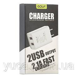 Сетевой адаптер Golf 2100mAh 2usb GF-U206 белый