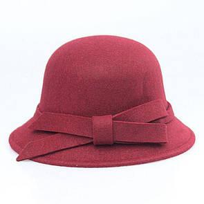 Bow Tie House Шляпа бордовая женская федора с бантиком