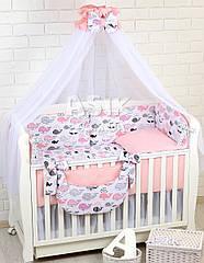 Комплект постельного белья Asik Киты розово-пудровые 8 предметов (8-299)