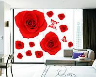 Інтер'єрна декоративна наліпка на стіну Червоні Троянди / Интерьерная наклейка на стену Красные Розы (AY888)
