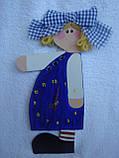 Часы настенные Девочка с бантом Часы для детской комнаты Ручная работа, фото 2