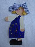 Часы настенные Девочка с бантом Часы для детской комнаты Ручная работа, фото 3