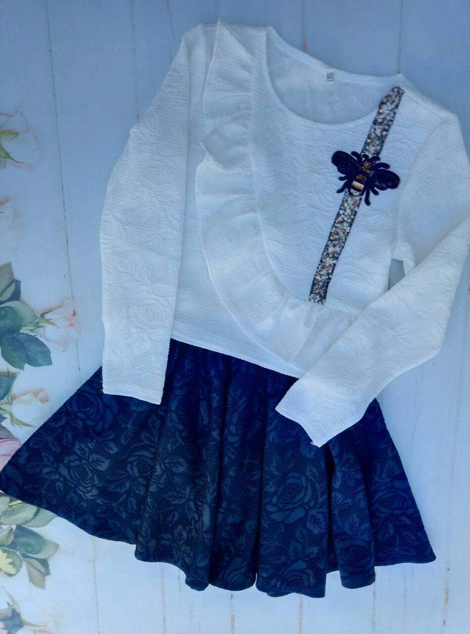 """Костюм для девочки """"Роза"""", р. 128-152, цвет белый+синий"""