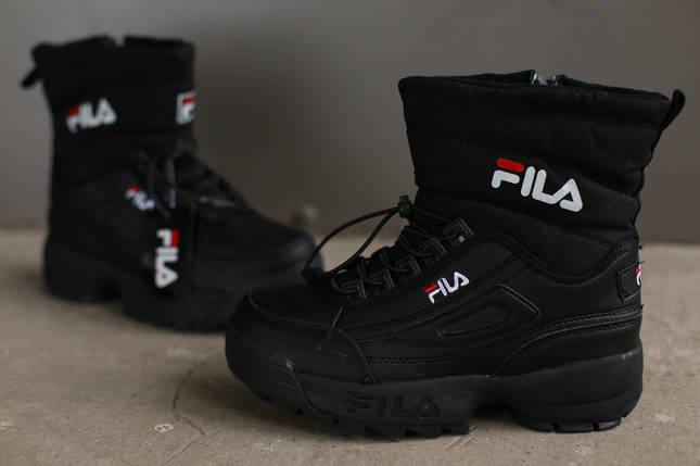 Ботинки зимние женские Fila Disruptor 2 (II) black черные, фото 2
