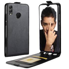 Чехол книжка для Huawei Honor 8X вертикальный флип, Гладкая кожа, черный