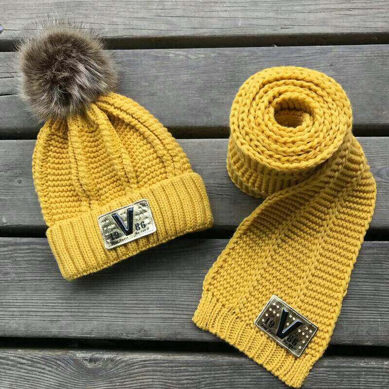 Шапка детская махра с шарфом в комплекте жёлтая