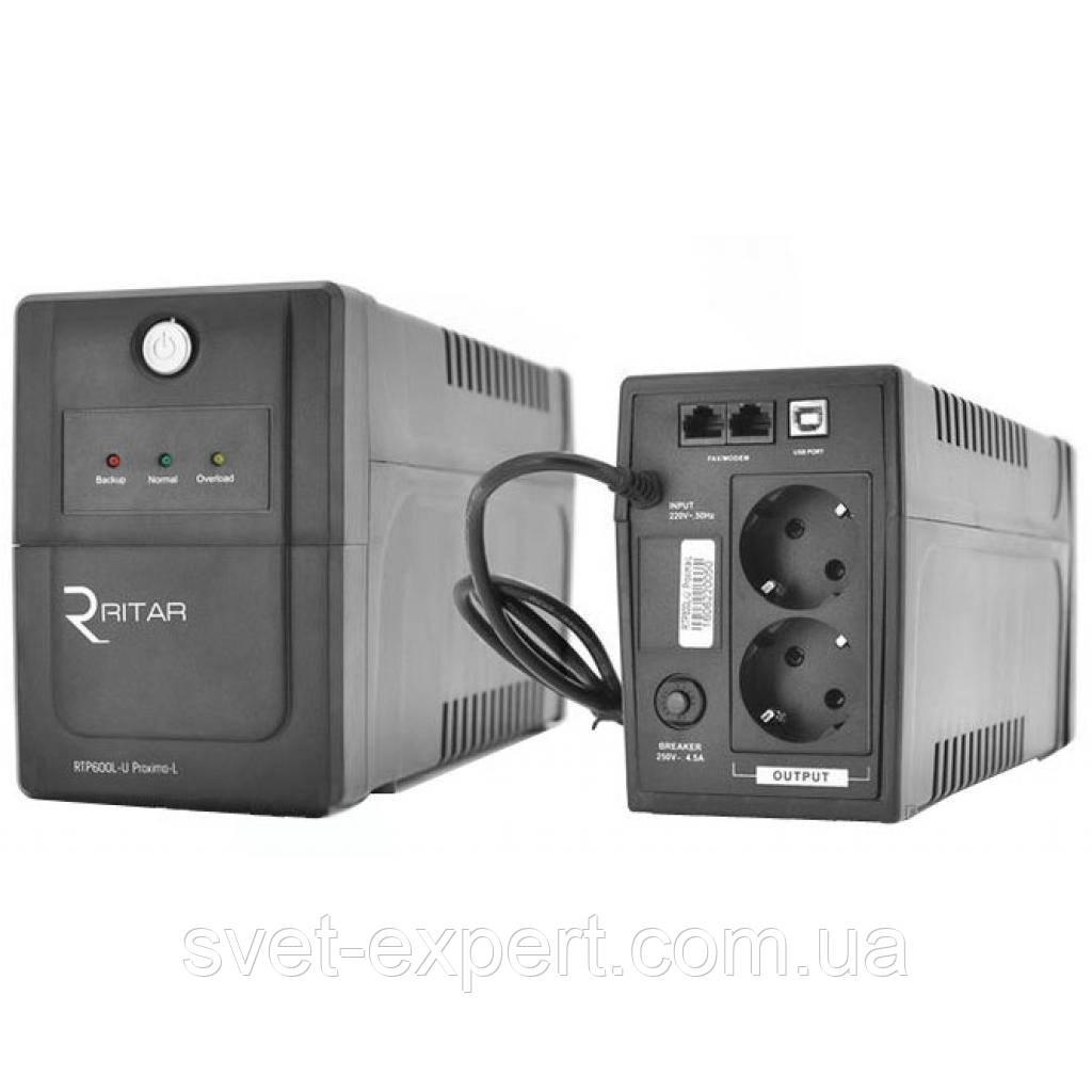 ИБП Ritar  RTP600L-U (360W) Proxima-L, LED, AVR, 2st, USB, 2xSCHUKO socket, 1x12V7Ah, plastik Case Q4