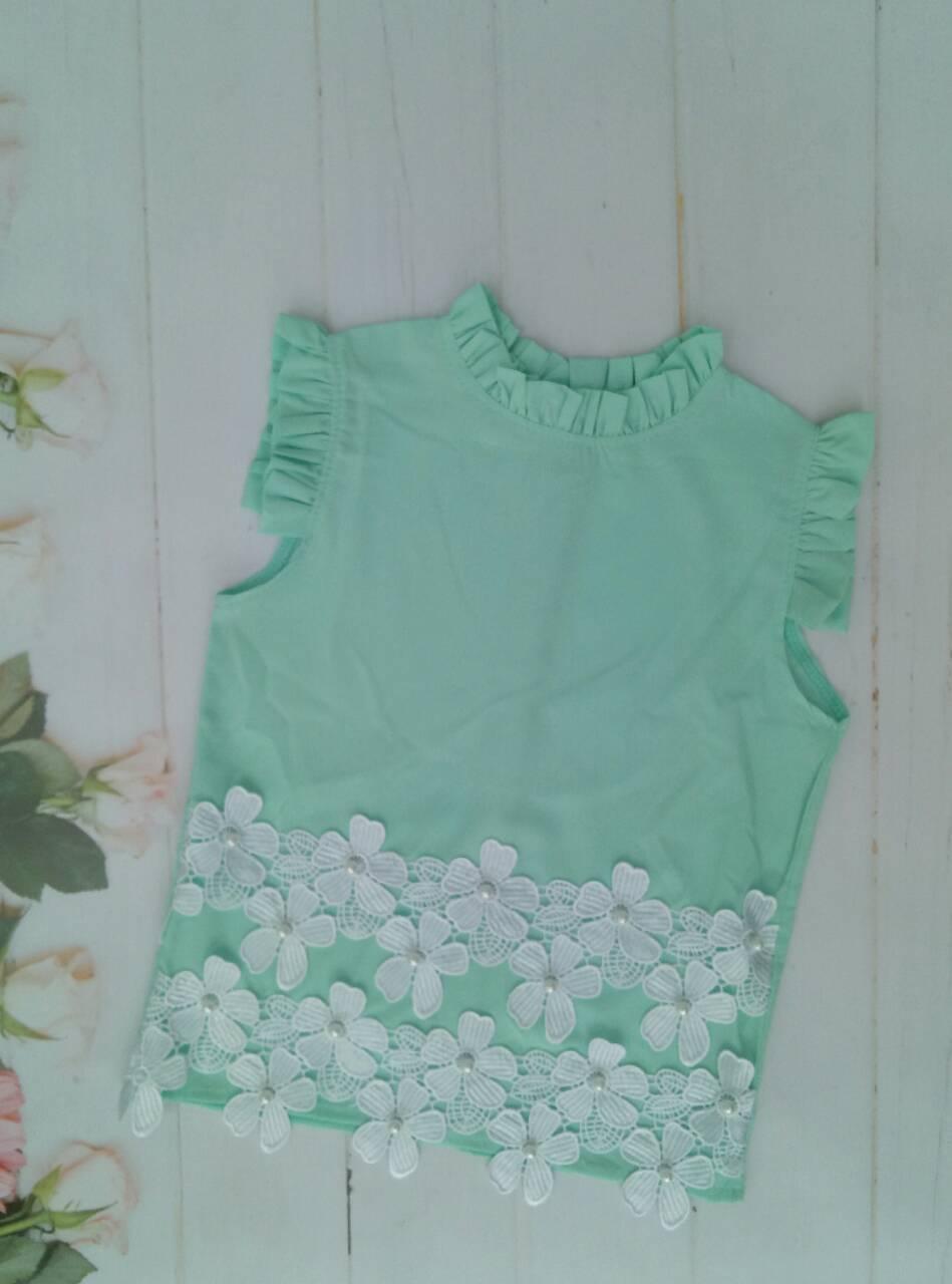 """Школьная блузка для девочки """"Ромашка"""",р. 128-152, цвет ментол"""