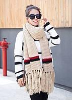 Женский вязаный большой шарф с полоской бежевый