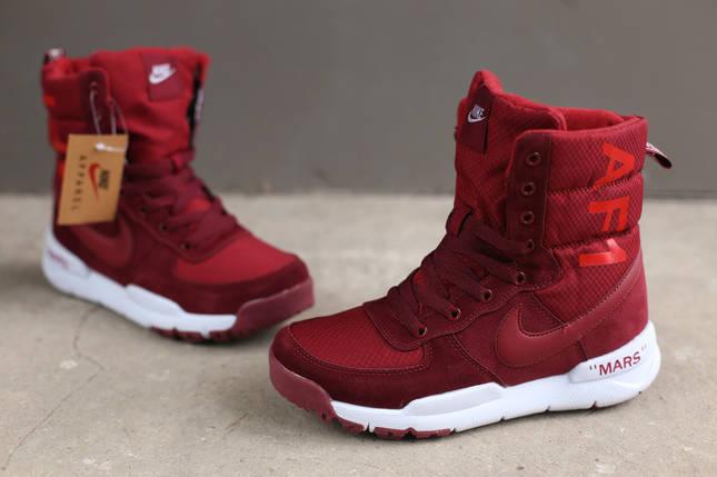 Ботинки зимние женские Nike AF1 burgundy бордовый, фото 2