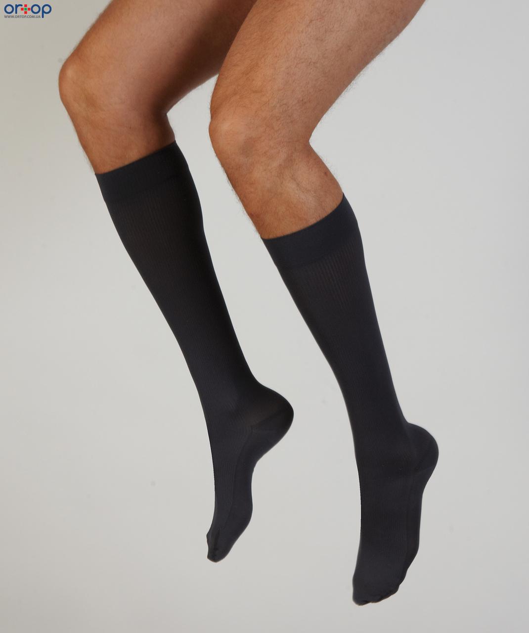 Компрессионные гольфы мужские Venoflex Elegence ( 20-36 мм рт.ст.) удлиненные с открытым носком, цвет черный, размер 1
