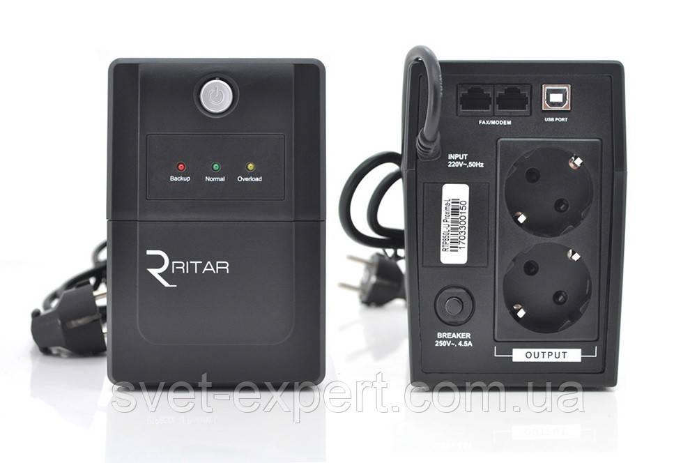 ИБП Ritar  RTP850L-U (510W) Proxima-L, LED, AVR, 2st, USB, 2xSCHUKO socket, 1x12V9Ah, plastik Case Q4
