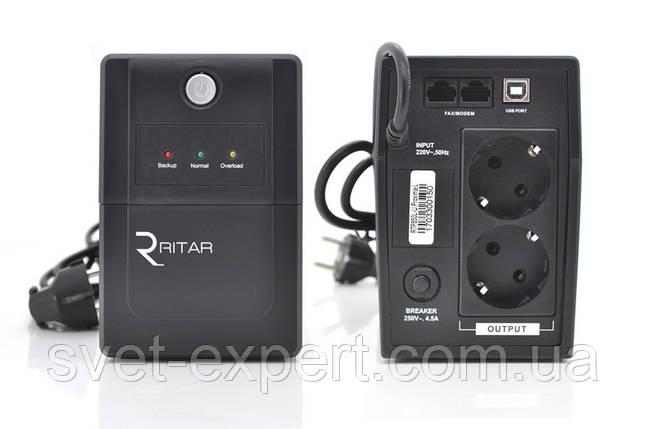 ИБП Ritar  RTP850L-U (510W) Proxima-L, LED, AVR, 2st, USB, 2xSCHUKO socket, 1x12V9Ah, plastik Case Q4, фото 2
