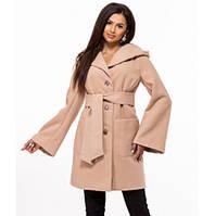 Стильное пальто из кашемира с капюшоном весна-осень бежевое