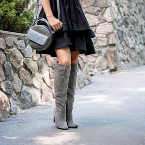 Сапоги женскиена каблуке замшевые длинные   размеры 36-41, фото 2