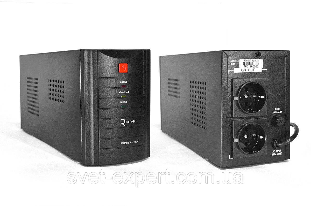 ИБП Ritar  RTM500  (300W) Standby-L, LED, AVR, 1st, 2xSCHUKO socket, 1x12V4.5Ah, metal Case Q4