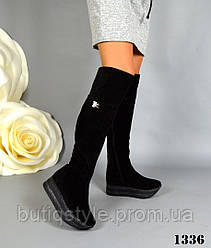 36, 37, 38 размер! Ботфорты женские зимние черные на платформе натур замш мех европейка