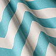 Красивая ткань для штор голубой зигзаг , фото 2