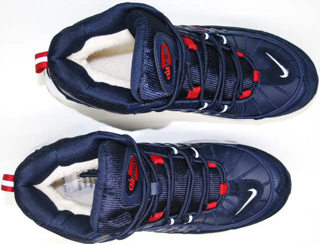 А2113-3 шьют из замши, эко кожи и текстиля. В синем цвете с красными и белыми элементами.