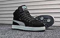 Кроссовки зимние мужские в стиле Puma Suede код товара TD-8514. Черные с белым