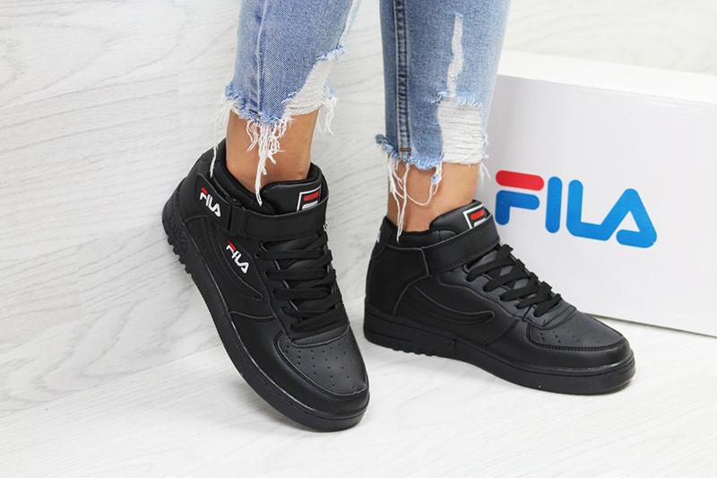 Кроссовки женские фила кожаные черные демисезонные высокие (реплика) Fila Black High Leather