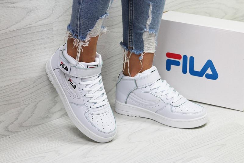 Кроссовки женские фила кожаные белые демисезонные высокие (реплика) Fila White High Leather