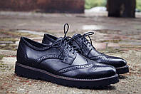 Мужские кожаные туфли броги на высокой подошве
